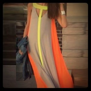 Neon & Grey Flowy Colorblocked Maxi Dress XL